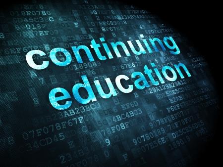 Concept de l'éducation: les mots pixélisés de formation continue sur le fond numérique, rendu 3d