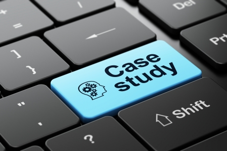 the case selected: Education concept: computer keyboard with Head With Gears icon and word Case Study, selected focus on enter button, 3d render Stock Photo