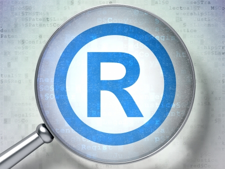 r regulation: Law concept: magnifying optical glass with Registered icon on digital background, 3d render Stock Photo