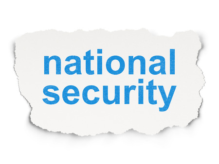 passkey: Protection concept: torn paper with words National Security on Paper background, 3d render Stock Photo