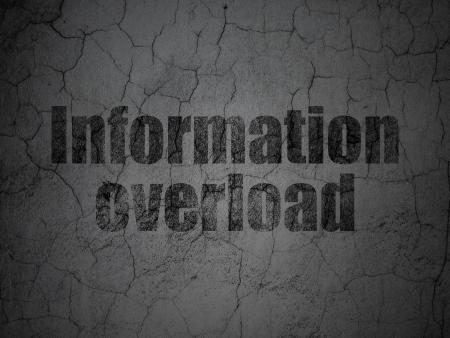 overload: Data concept: Black Information Overload on grunge textured concrete wall background, 3d render Stock Photo