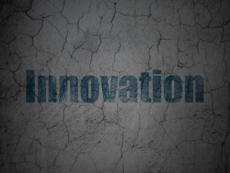 buisnes: Business concept: Blue Innovation on grunge textured concrete wall background, 3d render