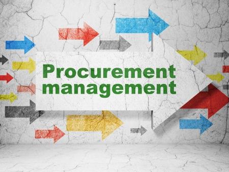 procurement: Finance concept:  arrow with Procurement Management on grunge textured concrete wall background, 3d render