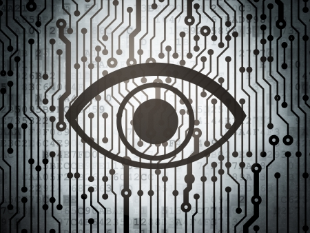 Security concept: circuit board with  Eye icon, 3d render photo