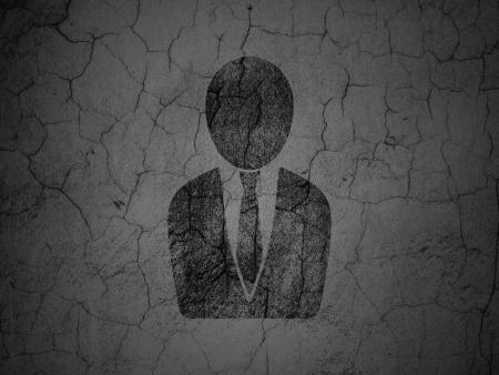 black business man: Concept de nouvelles: Homme noir d'affaires sur grunge texture en b�ton mur de fond, rendu 3d Banque d'images