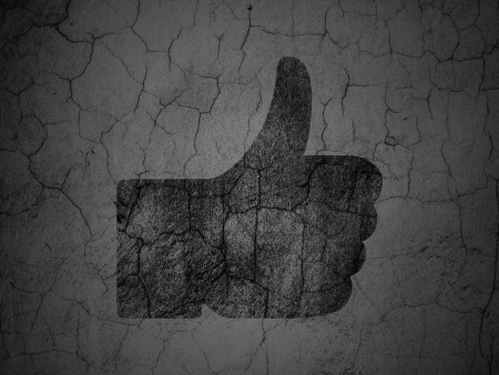 Social media concept: Black Thumb Up on grunge textured concrete wall background, 3d render photo