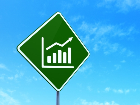 Finance concept: Growth Graph on green road (highway) sign, clear blue sky background, 3d render photo