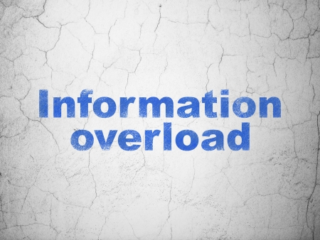 Information concept: Blue Information Overload on textured concrete wall background, 3d render photo