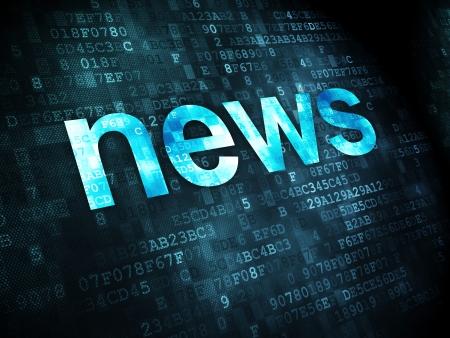 bad news: News concept: pixelated words News on digital background, 3d render