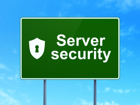 Safety concept: Server Security and Shield With Keyhole icon on green road (highway) sign, clear blue sky background, 3d render photo