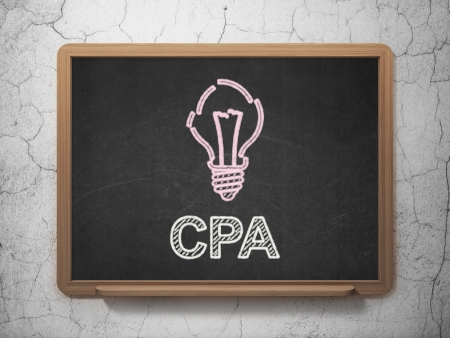 cpa: Finance concept: Light Bulb icon and text CPA on Black chalkboard on grunge wall background, 3d render