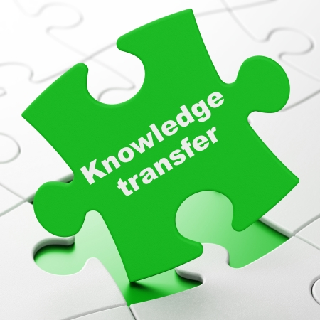Education concept: Knowledge Transfer on Green puzzle pieces background, 3d render photo