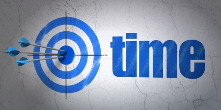 Success timeline concept: arrows hitting the center of target, Blue Time on wall background, 3d render photo