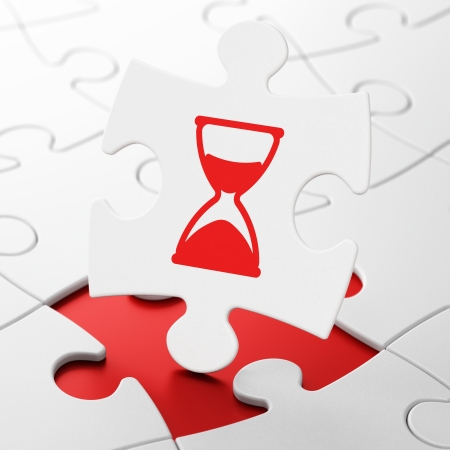 Timeline concept: Hourglass on White puzzle pieces background, 3d render photo