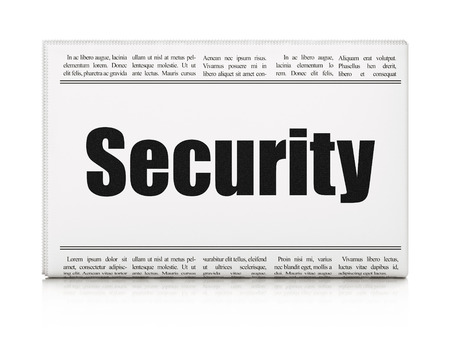 Security concept: newspaper headline Security on White background, 3d render photo