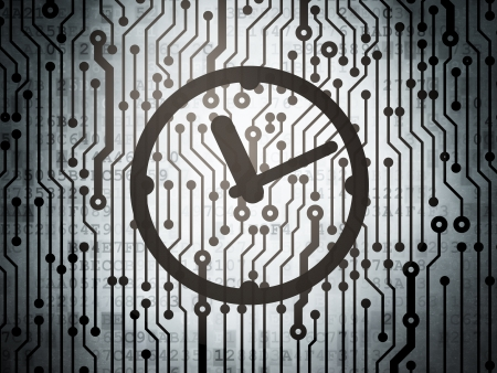 Time concept: circuit board with  Clock icon, 3d render photo