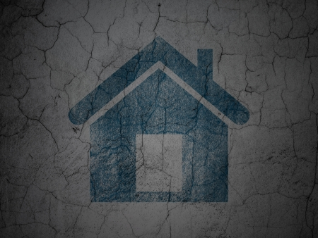 abandoned house: Security concept: Blue Home on grunge textured concrete wall , 3d render