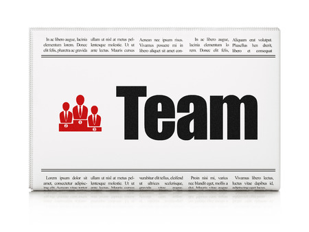 Business concept: newspaper headline Team and Business Team icon on White background, 3d render photo