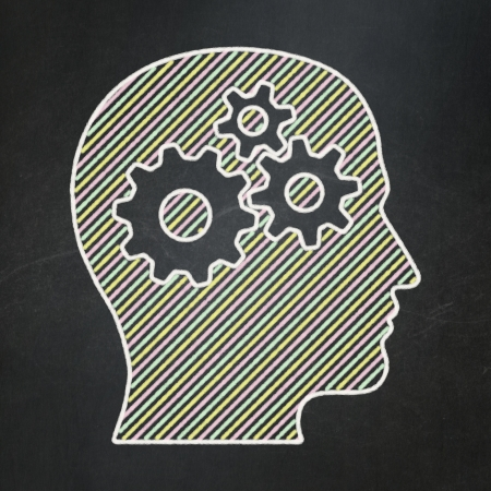 Information concept: Head With Gears icon on Black chalkboard , 3d render photo