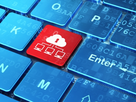 Protection concept: computer keyboard with Cloud Network icon on enter button background, 3d render Stock Photo - 24413813