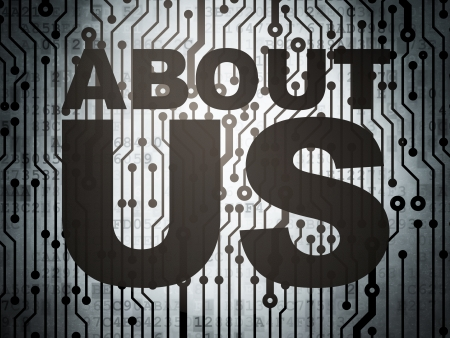 Advertising concept: circuit board with  word About Us, 3d render photo