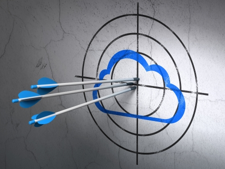 Success cloud technology concept: arrows hitting the center of Blue Cloud target on wall background, 3d render photo