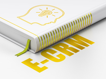 Business concept: closed book with Gold Head With Lightbulb icon and text E-CRM on floor, white background, 3d render photo