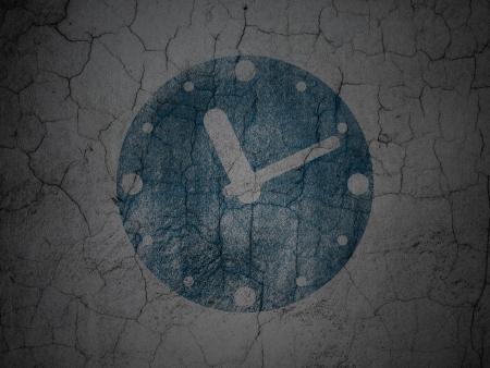 Timeline concept: Blue Clock on grunge textured concrete wall background, 3d render photo
