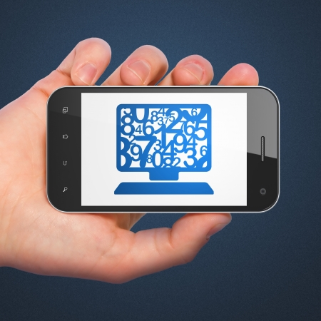 Education concept: hand holding smartphone with Computer Pc on display. Mobile smart phone on Blue background, 3d render photo