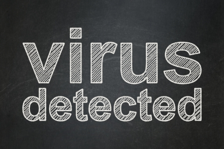 Protection concept: text Virus Detected on Black chalkboard , 3d render photo