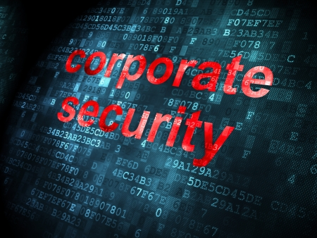 Security concept: pixelated words Corporate Security on digital , 3d render photo