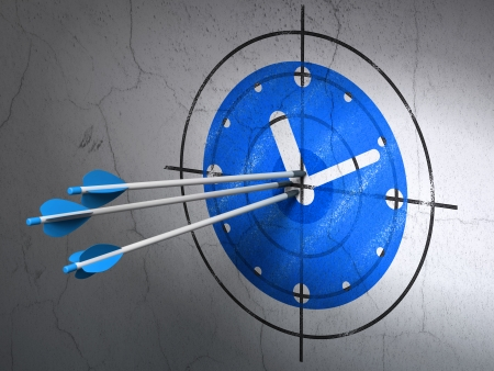Success timeline concept: arrows hitting the center of Blue Clock target on wall , 3d render photo