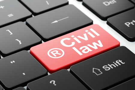 r regulation: Law concept: computer keyboard with Registered icon and word Civil Law, selected focus on enter button, 3d render Stock Photo