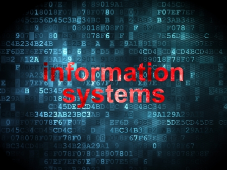 Information concept: pixelated words Information Systems on digital , 3d render photo