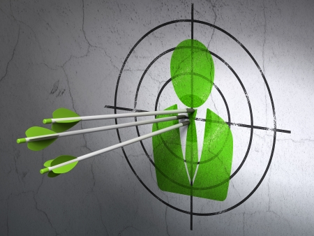 Success business concept: arrows hitting the center of Green Business Man target on wall background, 3d render photo