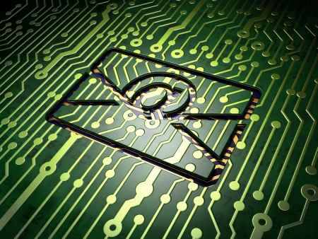 Finance concept: circuit board with Email icon, 3d render photo