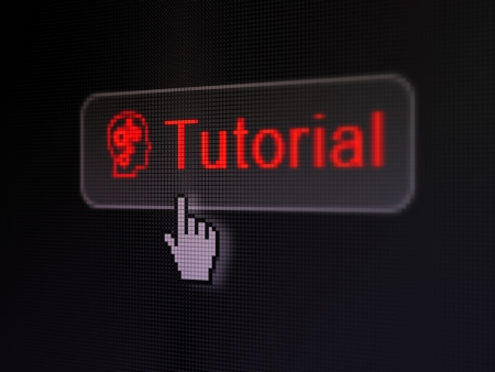 Education concept: pixelated words Tutorial and Head With Gears icon on button withHand cursor on digital computer screen background, selected focus 3d render photo