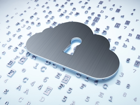 Cloud technology concept: Silver Cloud With Keyhole on digital background, 3d render photo