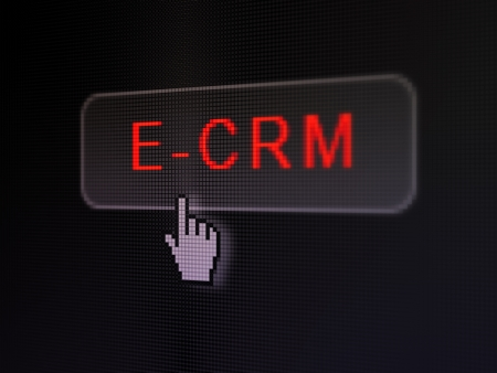 ecrm: Business concept: pixelated words E-CRM on button with Hand cursor on digital computer screen background, selected focus 3d render Stock Photo