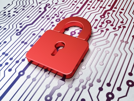 Protection concept:  Closed Padlock on Circuit Board background, 3d render Archivio Fotografico