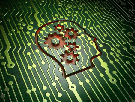 Data concept: circuit board with Head With Gears icon, 3d render photo