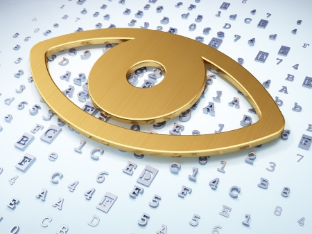 Safety concept: Golden Eye on digital background, 3d render photo