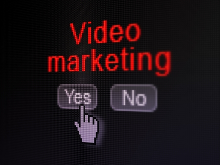 Finance concept: buttons yes and no with pixelated word Video Marketing and Hand cursor on digital computer screen, selected focus 3d render photo