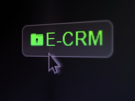 ecrm: Finance concept: pixelated words E-CRM and Folder With Keyhole icon on button withArrow cursor on digital computer screen background, selected focus 3d render