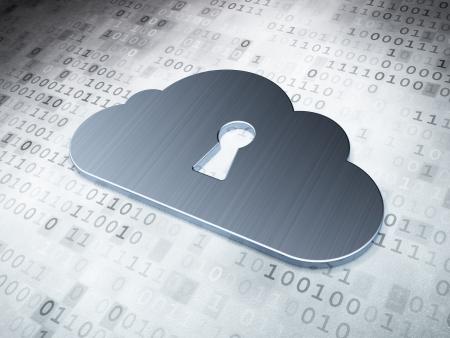 Concept de cloud computing: Silver Cloud avec trou de serrure sur fond numérique, rendu 3d