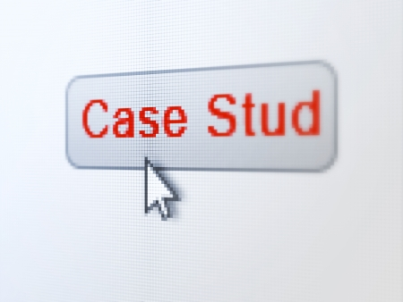 the case selected: Education concept: pixelated words Case Study on button with Arrow cursor on digital computer screen background, selected focus 3d render Stock Photo