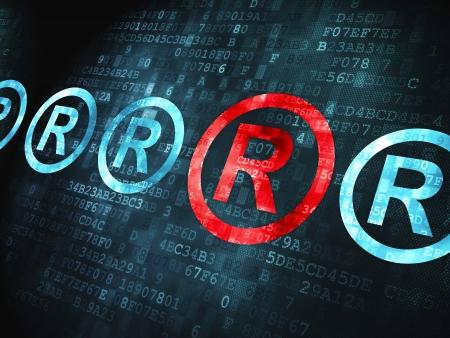 r regulation: Law concept: pixelated Registered icon on digital background, 3d render