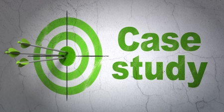study concept: Success Education concept: arrows hitting the center of target, Green Case Study on wall background, 3d render