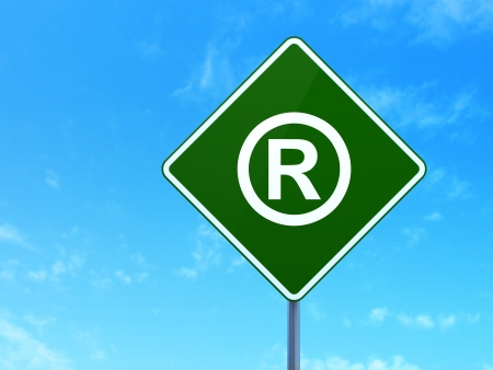 Law concept: Registered on green road (highway) sign, clear blue sky background, 3d render photo