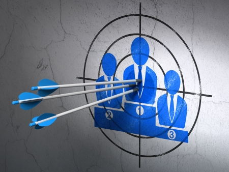 Success marketing concept: arrows hitting the center of Blue Business Team target on wall background, 3d render photo